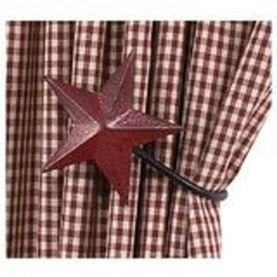 Red Metal Star Curtain Tie Backs ~ Pair