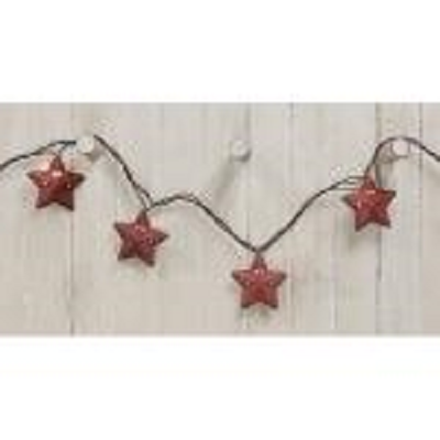 Rustic Burgundy Star String Lights