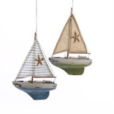Kurt S. Adler Wooden Antique Finish Sailboat With Starfish Ornaments