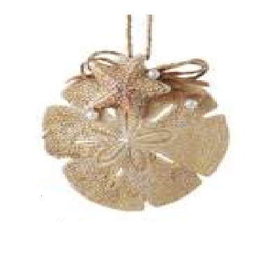 Kurt S. Adler Sand Dollar With Starfish Ornament