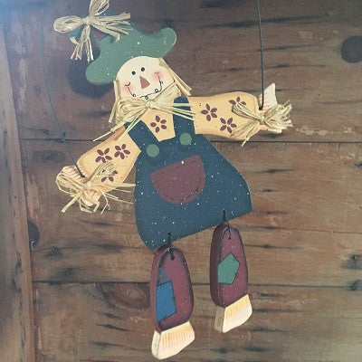 Hanging Wooden Scarecrow Wall Decor