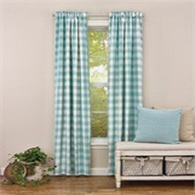 St Maarten Jacquard Check 84 Inch Sea Unlined Panels
