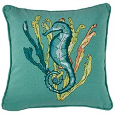 "Sea Horse Embroidered 20"" Pillow Cover"