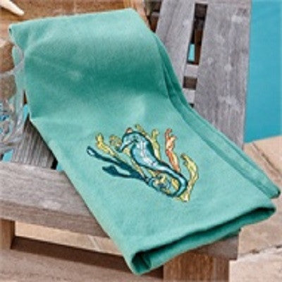 Sea Horse Embroidered Dishtowel