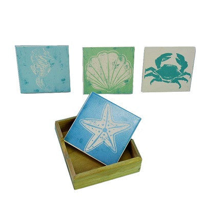 Sealife Coaster Set With Holder