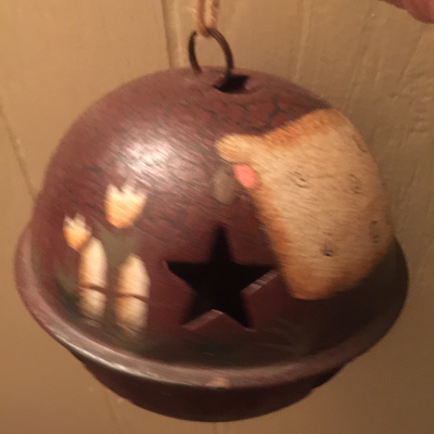 Large Rusty Tin Bell with Painted Sheep Ornament
