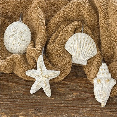 Set of 12 Resin Shells Shower Curtain Hooks