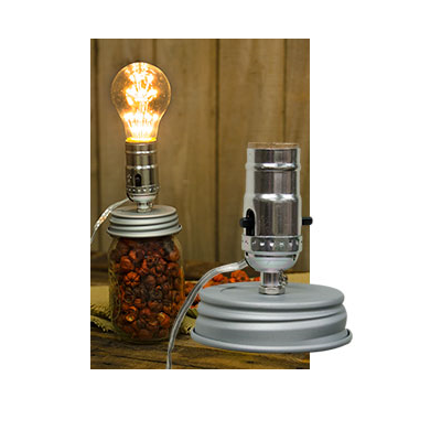 Small Mouth Canning Jar Lamp Adapter Lid