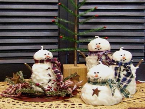 Primitive Snowman Candles
