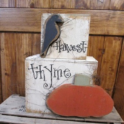 Harvest Thyme Pumpkin & Crow Stacker Set