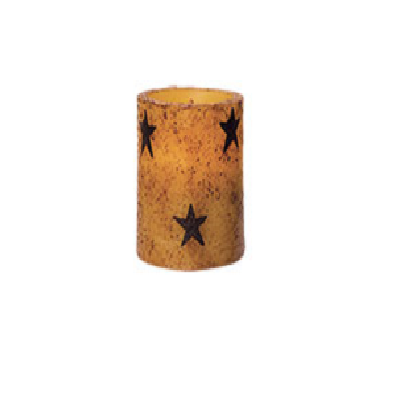 Battery Operated 4 Inch Rusty Star Timer Pillar Candle