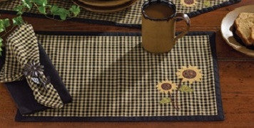 Sunflower Check Cotton Applique Placemat