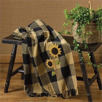 Sunflower Check Cotton Applique Throw