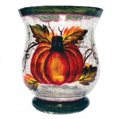 Autumn Harvest Crackle Glass Votive Cup