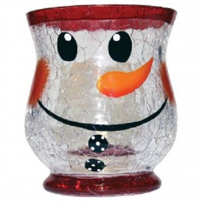Snowman Crackle Glass Votive Cup