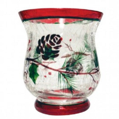 Woodland Winterberries Crackle Glass Votive Cup