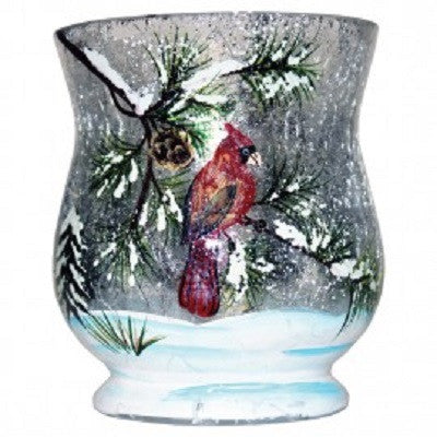 Winter Cardinal Crackle Glass Votive Cup