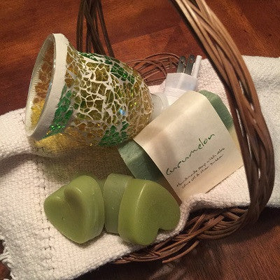 Cucumber Melon Wax Warmer Washroom Gift Basket