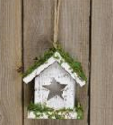 White Birdhouse Ornament