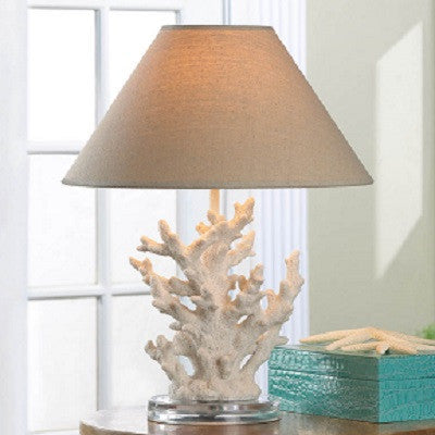 White Coral Table Lamp With Shade