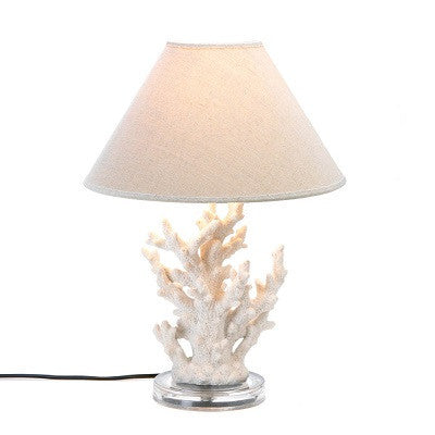 White Coral Table Lamp With Shade ~Lit