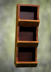 Distressed Reddish Finish Wood Vertical Bin