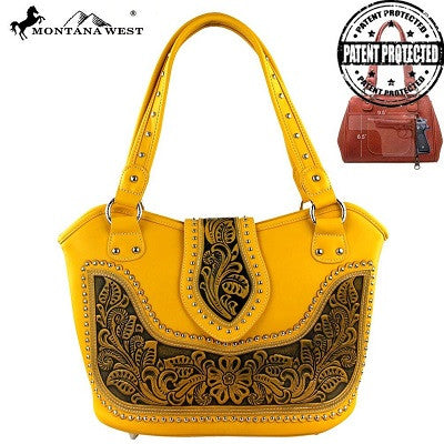 Montana West Tooling Concealed Handgun Collection Handbag ~ Yellow