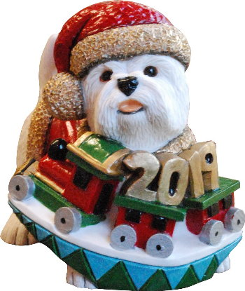 Annual Christmas Westie 2019 by Peakdale Sculptures