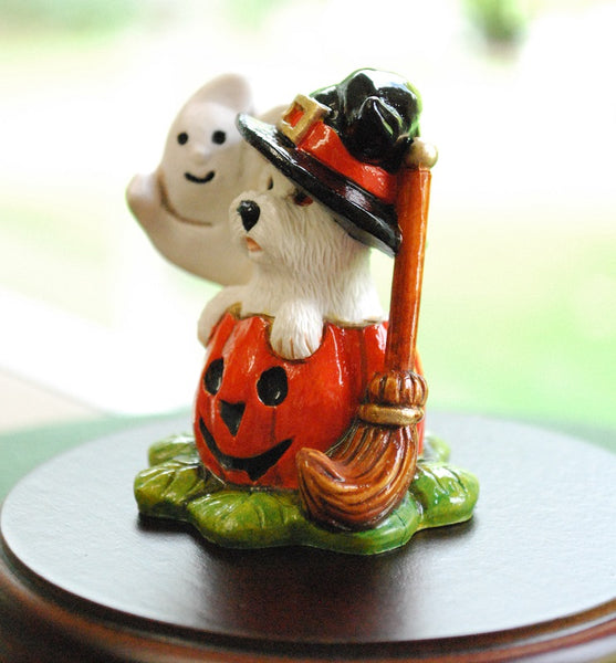 NEW Miniature Westie In Halloween Pumpkin