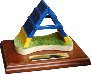 A-Frame Dog Agility Trophy with Engraving by Peakdalesculptures
