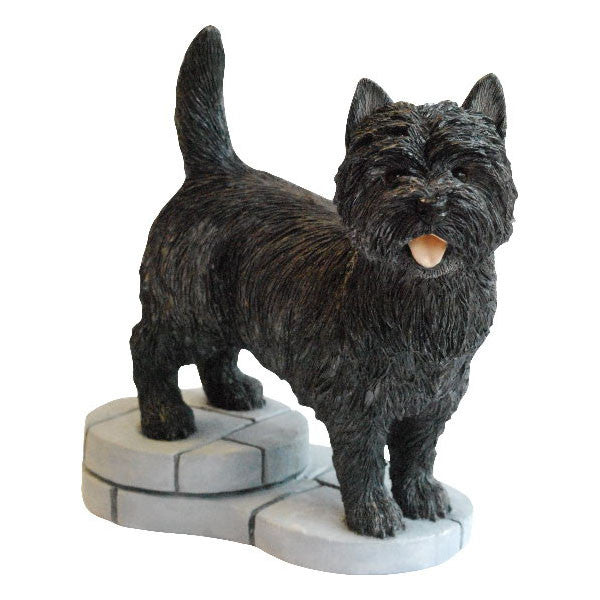 Black Cairn Terrier colour sculpture gift by Peakdalesculptures