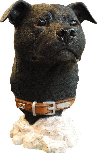 Black Staffordshire Bull Terrier Head Bust Sculpture