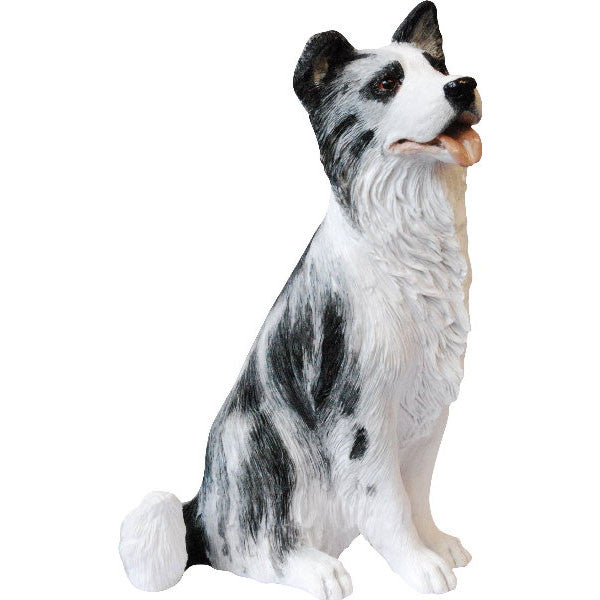 Blue Merle Border Collie sitting sculpture