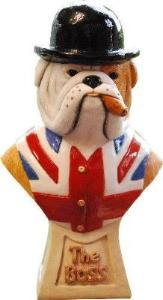 "British Bulldog ""The Boss"" Figurine Bust by Peakdalesculptures"