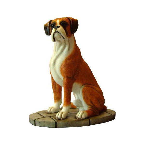 Boxer dog mahogany sculpture