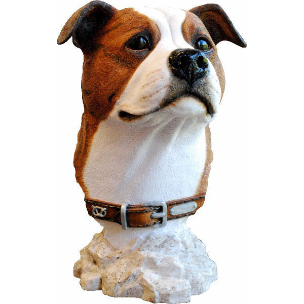 Staffordshire Bull Terrier Bust Sculpture Brindle