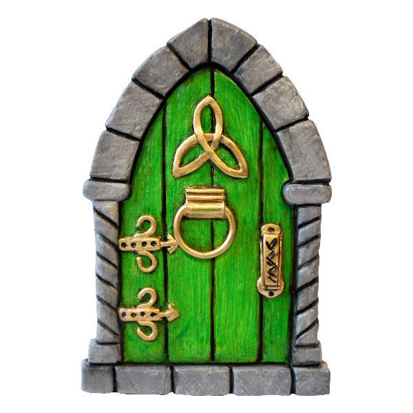 Celtic Fairy Door Hand Painted Green