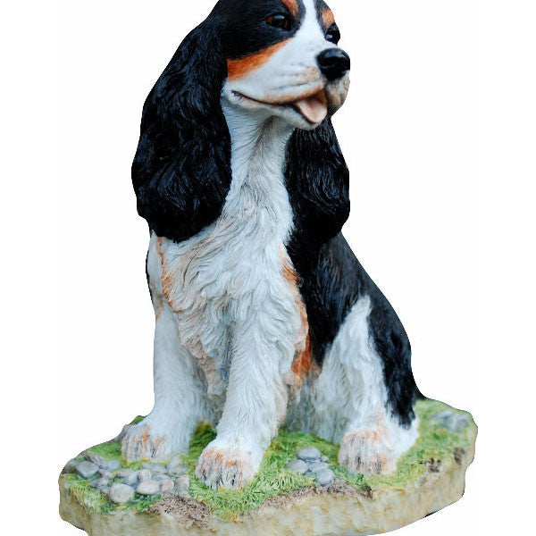 Tri-color Cocker Spaniel statue
