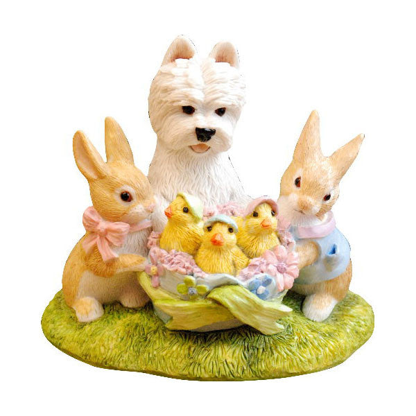 Easter Bunnies and Westie Pup Figurine Ornament