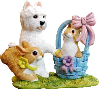 Easter Westie Pup and Easter Rabbits Figurine Gift by Peakdale Sculptures