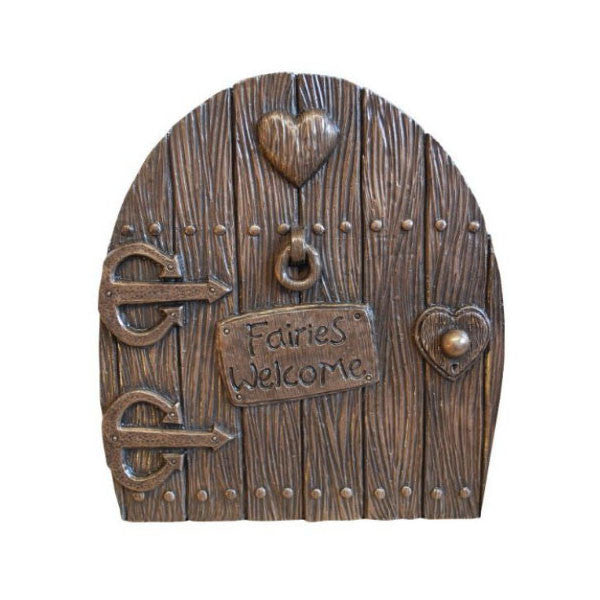 "Fairy Door  Large ""Fairies Welcome"" Bronze Finish"