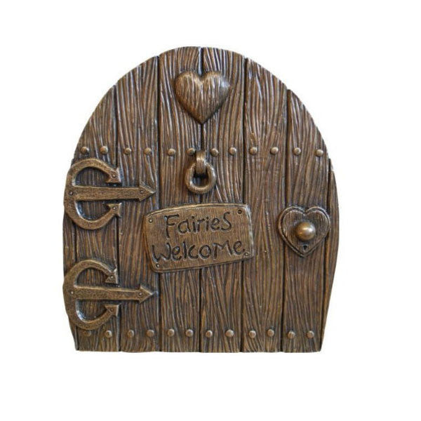 "Fairy Door Large ""Fairies Welcome"" Golden Bronze Finish"
