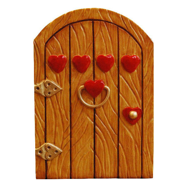 Four Hearts Fairy Door Hand painted Tan