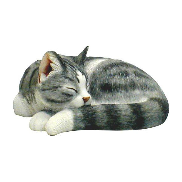 Cat Sculpture Grey sleeping