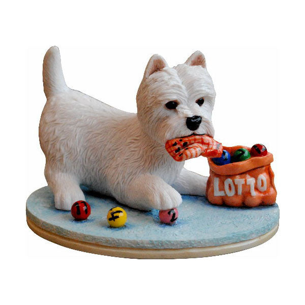 Lucky Lotto Westie Sculpture without base