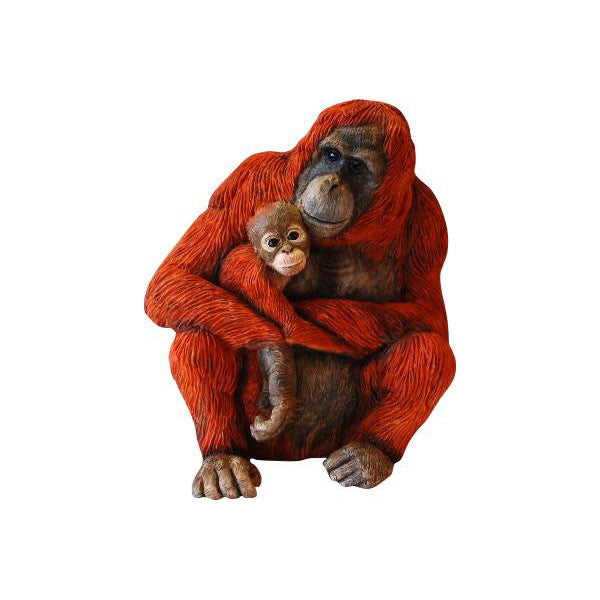Orangutan Mum and Baby Figurine Ornament By Peakdale