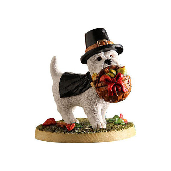 2015 Thanksgiving Pilgrim Westie with Basket Figurine Gift
