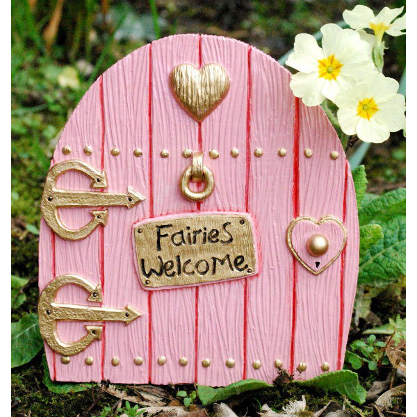 Fairies Welcome Large Fairy Door Hand Painted PINK