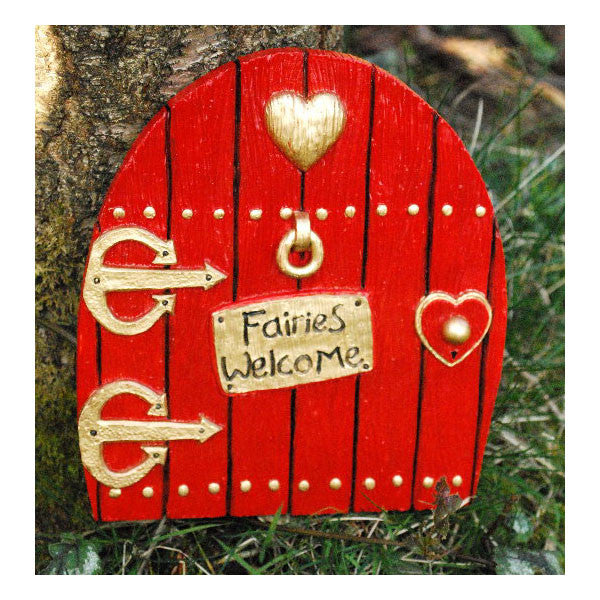 Fairies Welcome Large Fairy Door Hand Painted RED