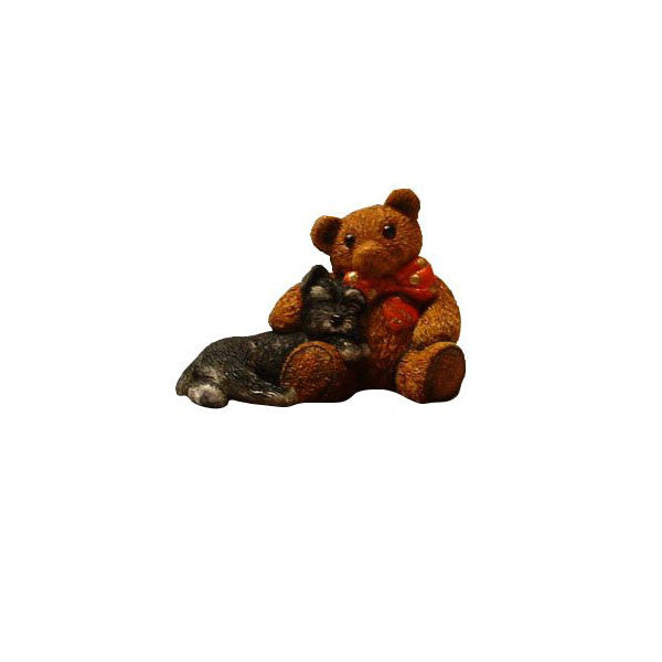 Black Schnauzer Sculpture Puppy and Teddy